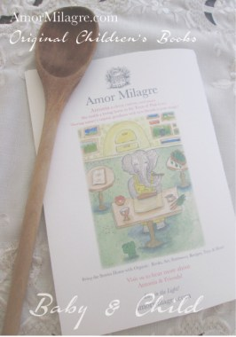 Amor Milagre Presents Antonia's Bakery organic original children's book amormilagre.com Baby & Child Responsibly Handmade Non-toxic book collections. Peaceful elephant, organic vegan. Organic soft toys.