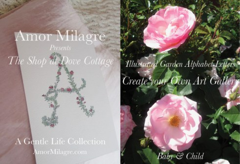Amor Milagre The Shop at Dove Cottage Baby & Child Collection Summer 2018 Art Design Organic Nursery Illustrated Garden Alphabet Letters Artwork amormilagre.com