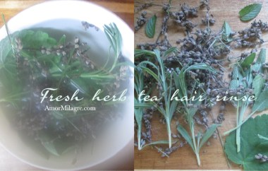 Amor Milagre Fresh Garden Herb Tea Hair Rinse Organic Vegan Non-Toxic natural beauty Recipe amormilagre.com