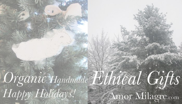 Amor Milagre Presents 2 Happy Gift Giving Holiday Sale 2018 Film Art Design Organic Apparel Christmas Tree Handmade dancing silly Sheep Ornaments Artwork Nursery Gifts Presents Artisan ethical sustainable organic cotton drawing amormilagre.com