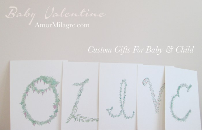 Amor Milagre Baby Valentine Art Print Sale 2019 Organic Ethical Vegan Gifts Baby & Child Olive alphabet letters custom amormilagre.com