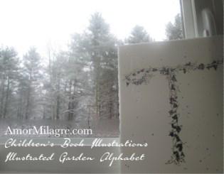 Amor Milagre Illustrated Garden Alphabet Letter T Snowy Blueberry Christmas Winter 5 Watercolor Original Painting Art Print Stationery Baby & Child Nursery illustration artwork amormilagre.com