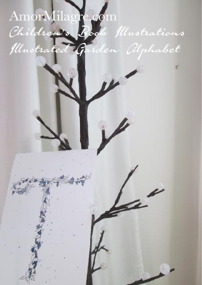 Amor Milagre Illustrated Garden Alphabet Letter T Snowy Blueberry Christmas Winter Watercolor Original Painting Art Print Stationery Baby & Child Nursery illustration artwork amormilagre.com