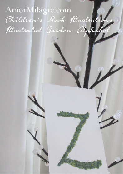 Amor Milagre Illustrated Garden Alphabet Letter Z Green Leaf Christmas Winter Watercolor Original Painting Art Print Stationery Baby & Child Nursery illustration artwork amormilagre.com