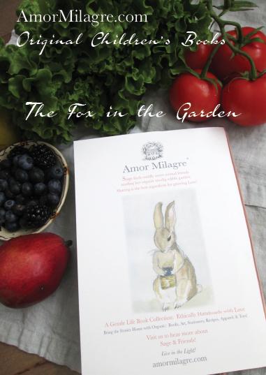 Amor Milagre Presents The Fox in the Garden ethical organic original children's book amormilagre.com nursery bookshop bunny blueberries vegetables vegan