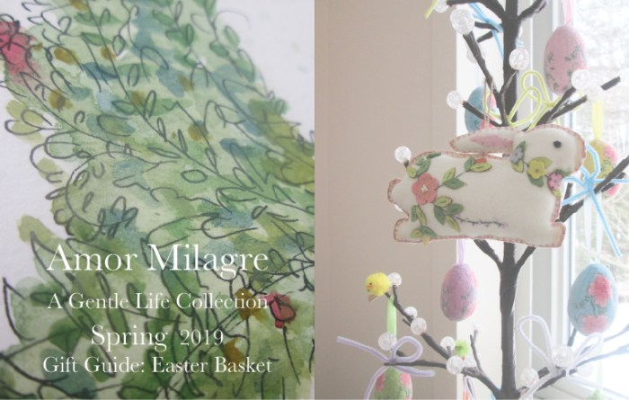 Amor Milagre Gift Guide Easter Basket, Egg Tree Bunny Rabbit Floral Painting Ethical Spring Collection 2019 Custom Design Art Gallery Organic Vegan Gifts Baby & Child amormilagre.com