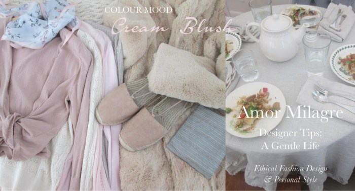 Amor Milagre Spring Fashion Personal Style 2019 Cream Blush Pink table setting espadrilles colour mood Ethical Handmade Gift Shop Art Apparel Organic Vegan Women's design amormilagre.com