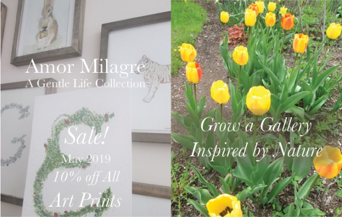 Amor Milagre Art Print SALE! Art Gallery Yellow Tulips Baby & Child Nursery May Gardening 2019 Spring Flowers Bulbs Ethical Organic Gift Shop Handmade Gift Shop amormilagre.com Illustrated Garden Alphabet Letter E Hand-painted Watercolours