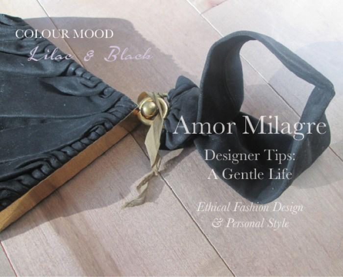 Amor Milagre Spring Fashion Personal Style 2019 Lilac Purple & black vintage handbag 1940's colour mood Ethical Handmade Gift Shop Art Organic Women's amormilagre.com
