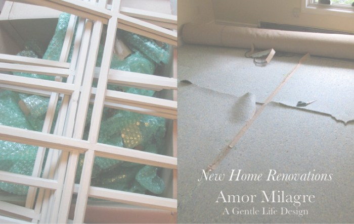 Amor Milagre New Home Renovation Design Diaries 1st Dusty Days 2019 Ethical Organic Gift Shop Handmade Gift Shop Art demo removing carpet grids windows amormilagre.com