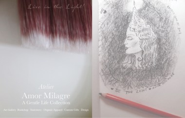 Amor Milagre About Me Be the Light Charcoal Portrait Woman Profile Candle Hair Eternal Flame Love Greeting Card Live in the Light! Winter 2019 Ethical Handmade Gift Shop amormilagre.com