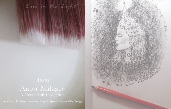 Amor Milagre Ambassador for Positive Change, Safe World for Sensitive People, About Me Be the Light Charcoal Portrait Woman Profile Candle Hair Eternal Flame Love Greeting Card Live in the Light! Winter 2019 Ethical Handmade Gift Shop amormilagre.com