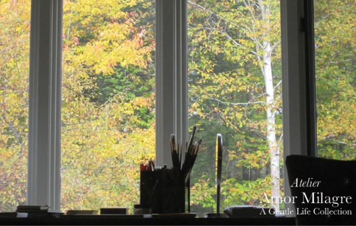 Amor Milagre Atelier Design Art Studio Artist Desk Bay Window View Autumn Trees Ethical Personal Style & Holiday 2019 Ethical Gift Guide Reused & Recycled Leather & Post Consumer Materials amormilagre.com