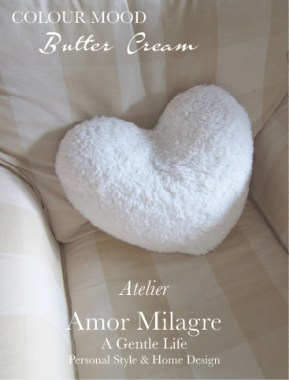 Amor Milagre Butter Cream Colour Mood Home Fashion Personal Style Ethical Atelier yellow white Checked upholstered swivel Chair heart pillow amormilagre.com