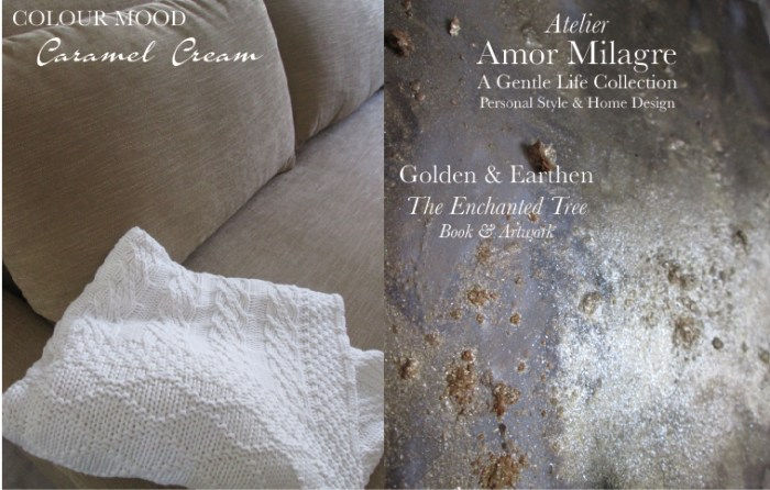 Amor Milagre Caramel Cream Colour Mood Home Fashion Personal Style Autumn 2019 Ethical Atelier Art Apparel white knit throw blanket tan shimmer gold golden earthen english sofa couch interior design amormilagre.com