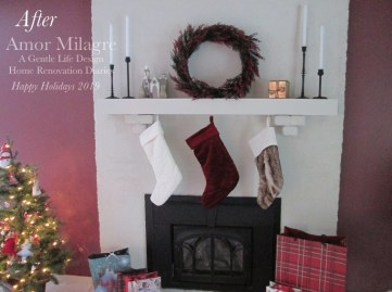 Amor Milagre Home Renovation Design Diaries Living Room Fireplace Makeover Holiday stockings Interior Design Ethical Gift Shop amormilagre.com