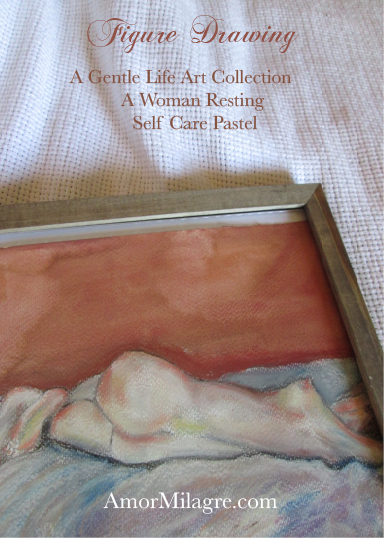 Amor Milagre A Woman Resting, Self Care Pastel Figure Drawing, Ethically made Art Prints, Greeting Cards amormilagre.com