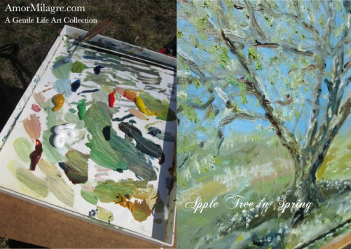 Amor Milagre Presents Apple Tree in Spring Oil Painting, Art Prints, Greeting Cards amormilagre.com 2