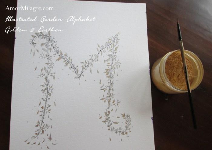 Illustrated Garden Alphabet Letters Custom Golden Amor Milagre amormilagre.com