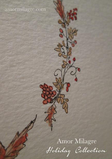 Illustrated Garden Alphabet Letter R Red Autumn Golden 2 Amor Milagre amormilagre.com