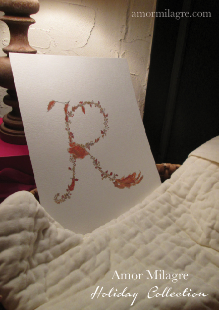 Illustrated Garden Alphabet Letter R Red Autumn Golden Amor Milagre amormilagre.com