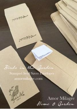 Birds in the Garden Seed Saver Stamped Envelopes Amor Milagre amormilagre.com