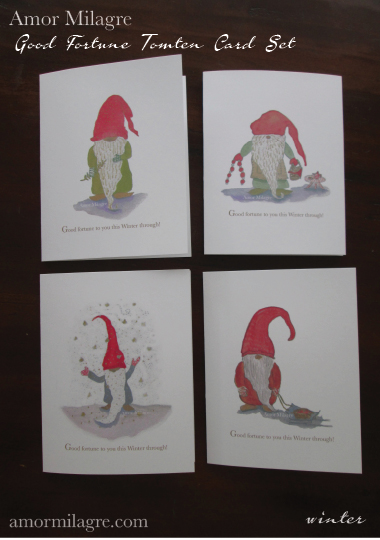 Amor Milagre Good Fortune Tomte Nordic Gnome Winter Holiday Greeting Cards Set Art Prints Watercolour Painting amormilagre.com