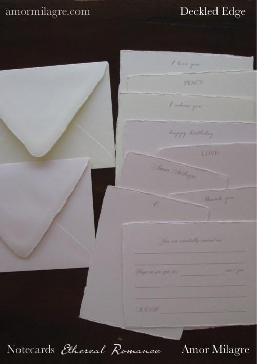 Amor Milagre Ethereal Romance Deckled Edge Notecards Pink Cream Stationery Set amormilagre.com