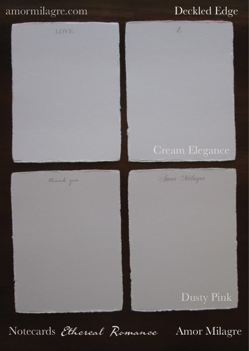 Amor Milagre Ethereal Romance Deckled Edge Notecards Pink Cream Stationery Sets amormilagre.com