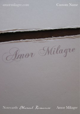 Amor Milagre Ethereal Romance Deckled Edge Notecards Pink Cream Stationery custom name amormilagre.com