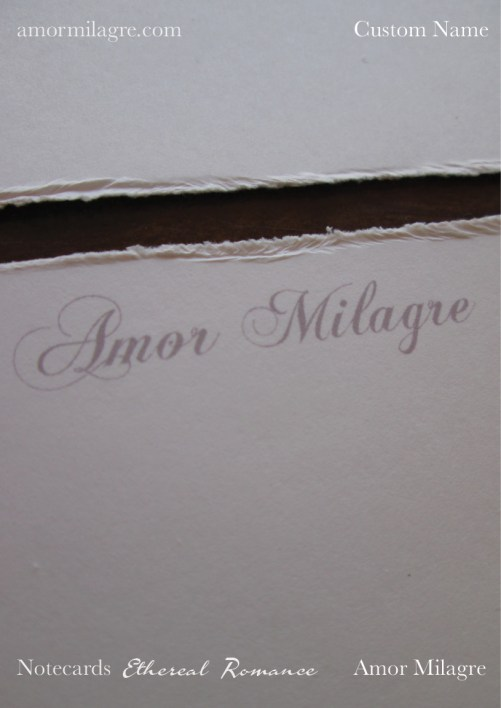 Amor Milagre Ethereal Romance Deckled Edge Notecards Pink Cream Stationery custom name amormilagre.com