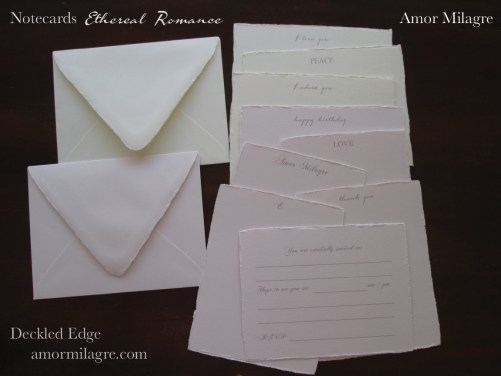 Amor Milagre Ethereal Romance Deckled Edge Notecards Pink Cream Stationery greeting cards 2 amormilagre.com
