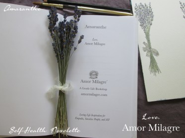 Amaranthe Novel by Amor Milagre Self-Health Book Lavender French NYC 12 amormilagre.com