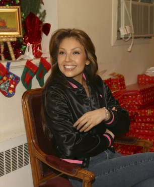Thalia Joins Broadway Housing Project Children From The Robin Hood Foundation After School Program to Hand Out Holiday Gifts (5)