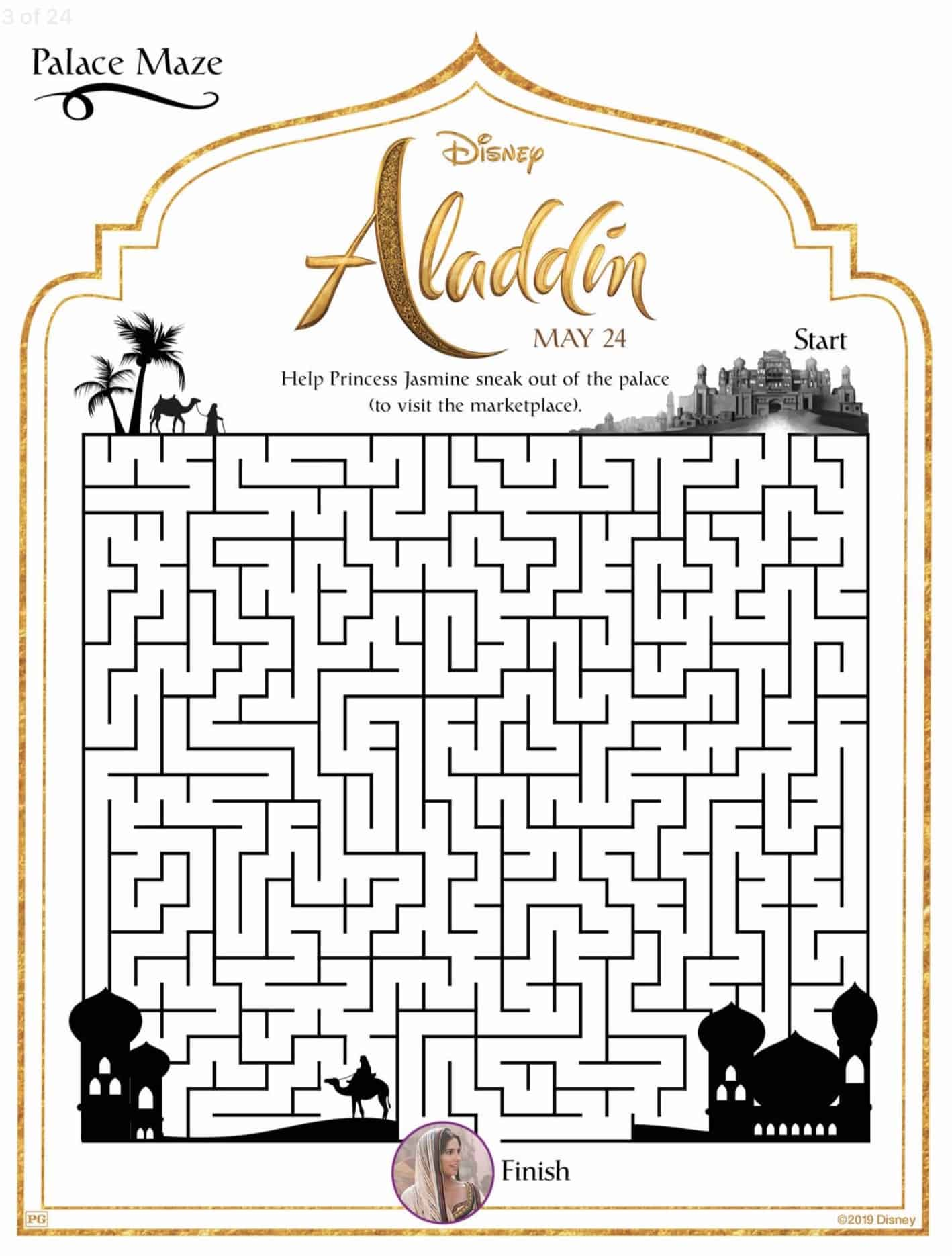 Disney S Aladdin Live Action Movie Activity And Coloring