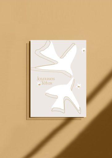 Carte postale Joyeuses fêtes beige – feuille d'or
