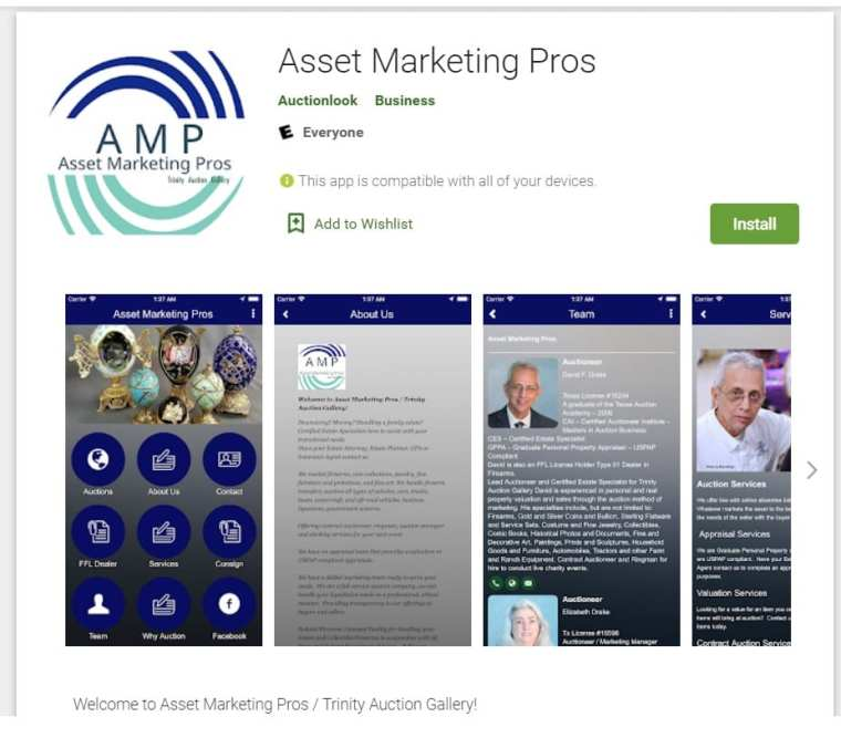 Our free mobile app for auctions