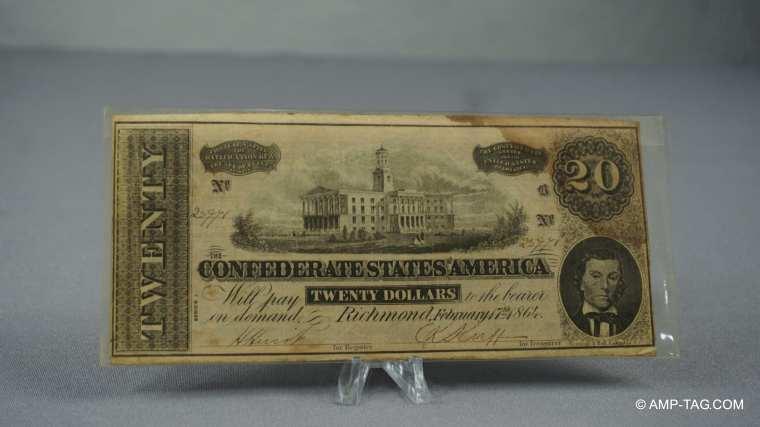 Twenty Dollar Confederate Currency
