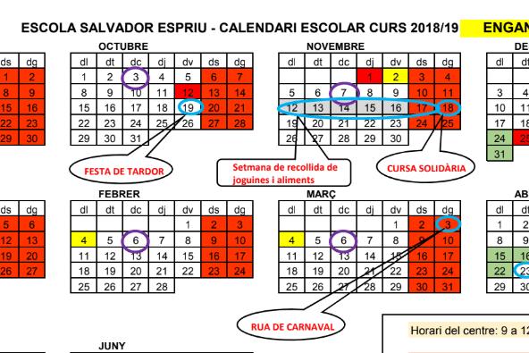 Comencem el nou curs. Calendari escolar