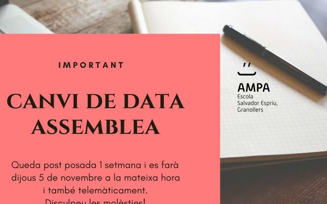 Assemblea de L'AMPA dia 5 de novembre 2020
