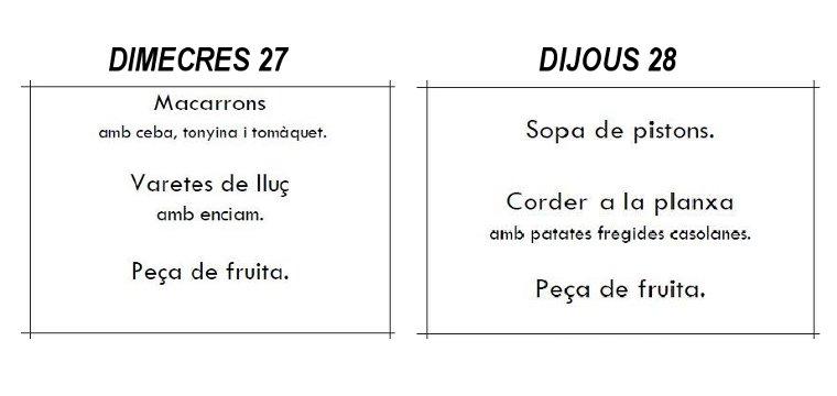 cambio menu