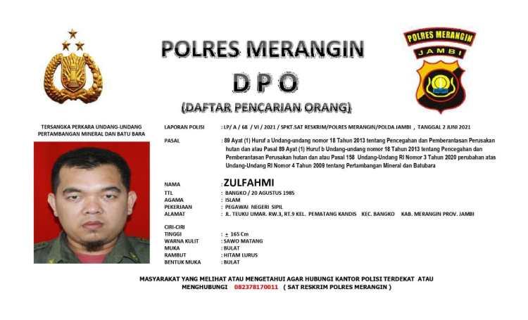 Zulfahmi tersangka kasus PETI, jadi DPO Polisi