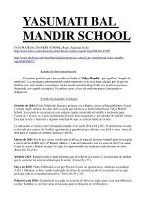 Yasumati Bal Mandir School_Cronología1