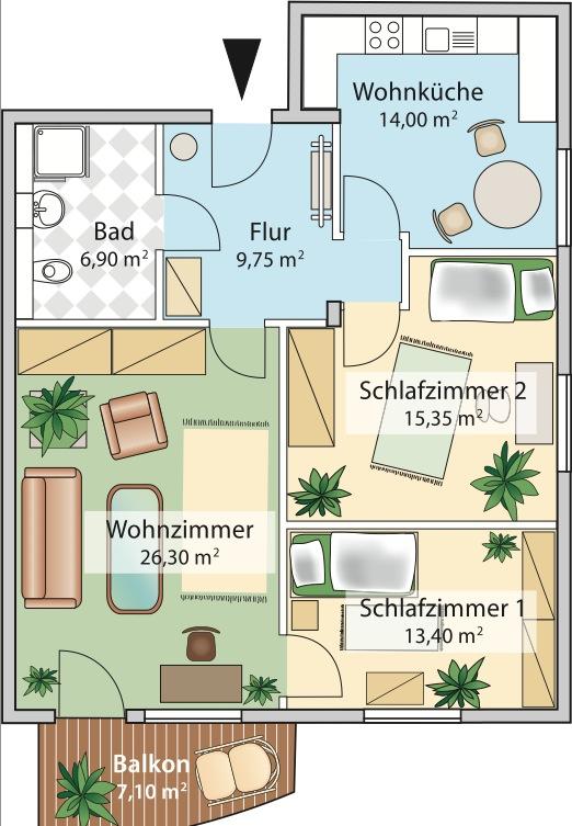 Grundriss 3 zimmer wohnung betreutes wohnen amperblick for 3 zimmer wohnung delmenhorst
