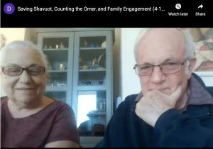 Dr Deborah and Rabbi Jeffrey Schein in a still from their Shavuot webinar