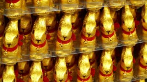 Golden wrapped easter bunny chocolates