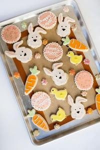 easter decorated cookies on sheet pan
