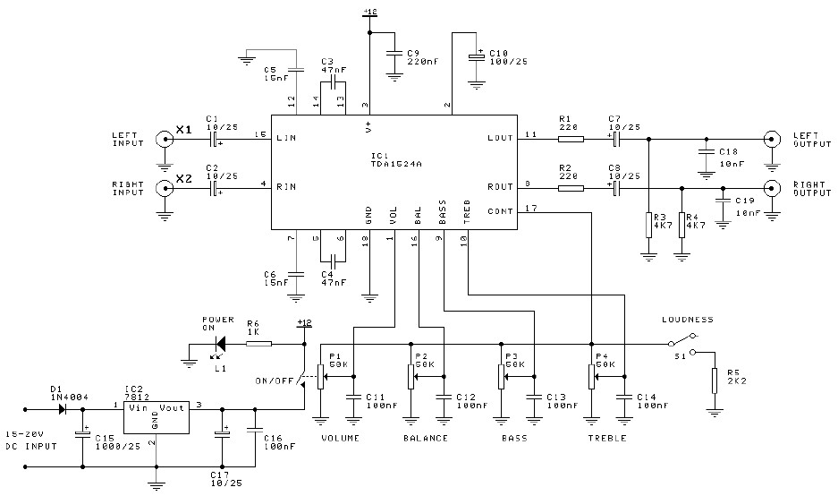 Preamplifier + tone control circuit based TDA1524A