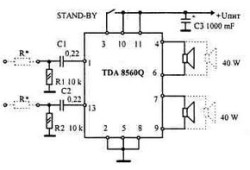 Car Amplifier Circuit 2x40W based TDA8560Q