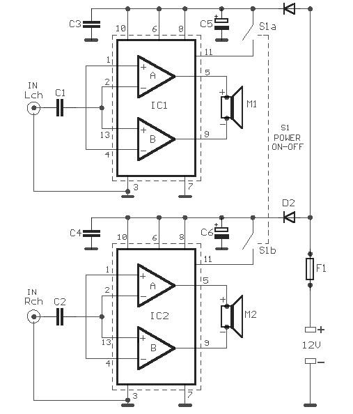 power amplifier 2x18w with tda1516q
